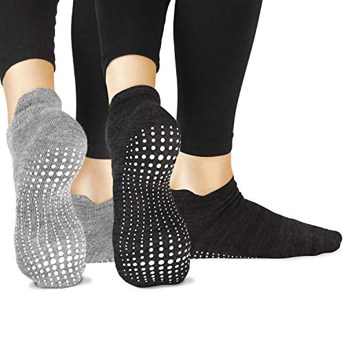 Active Slip - LA Active Grip Socks - 2 Pairs - Yoga Pilates Barre Ballet Non Slip Covered (Slate Grey and Stellar Black), Medium