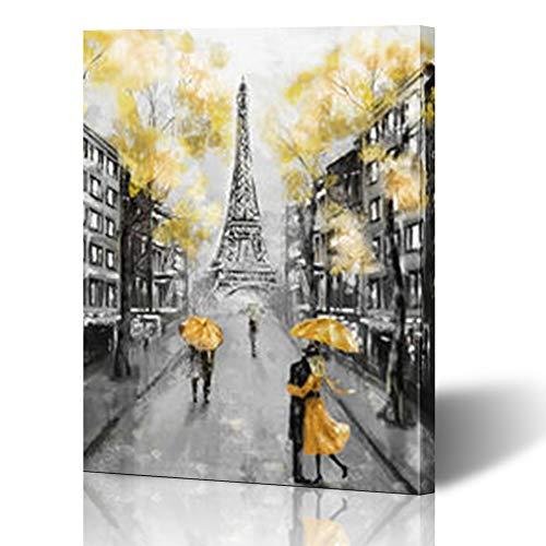 "InterestDecor Canvas Prints Wall Art 16""x16"" Memorial Paris European Hand City Umbrella Watercolor Modern Canvas Painting Home Decor Wrapped Framed Gallery Artwork"