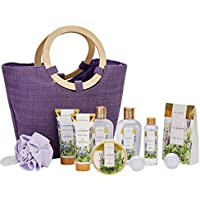 Spa Luxetique 10-Piece Womens Spa Gift Baskets with Bath Bombs, Body Butter, Lotion, Bath Puff (Lavender)