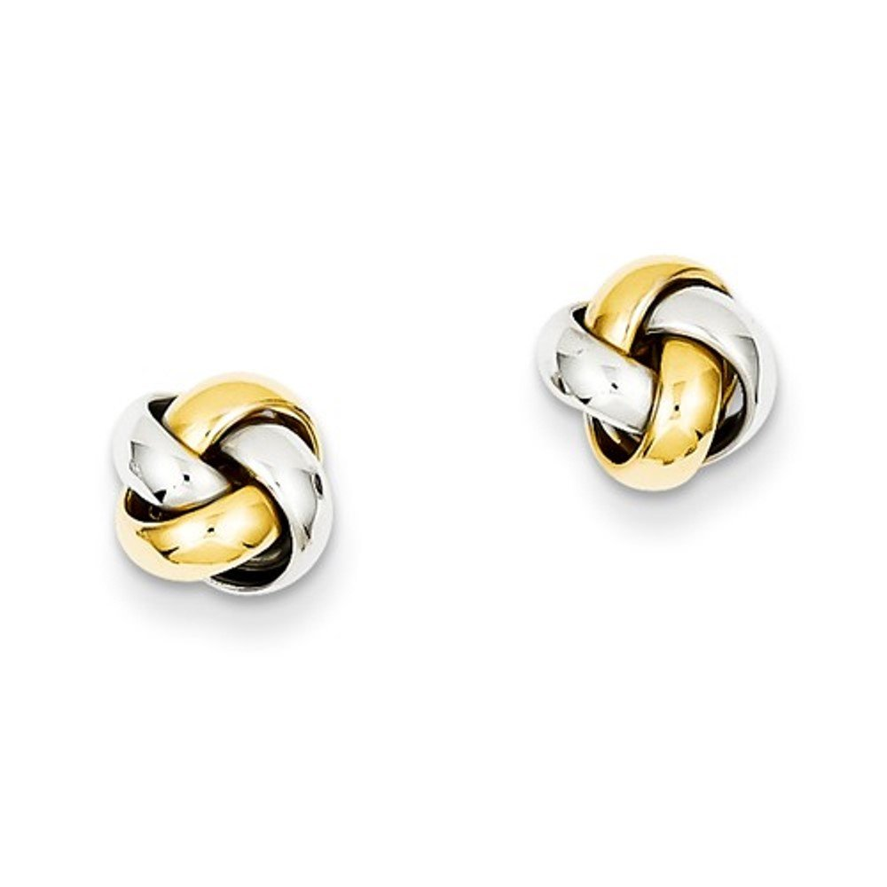14k Gold Two Tone Classic Love Knot Stud Post Earrings
