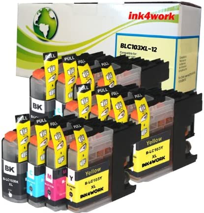 MFC-J475DW MFC-J875DW MFC-J4710DW MFC-J4510DW ink4work Set of 12 Pack LC-103 LC103 High Yield Compatible Ink Set /& ink4work Wristband for Brother MFC-J285DW MFC-J4610DW MFC-J470DW MFC-J450DW MFC-J4310DW MFC-J4410DW MFC-J870DW