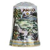 Jamaica Caribbean Map Pearl Souvenir Collectible Thimble agc