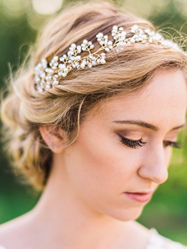Price comparison product image Yean Bridal Headband Gold Wedding Hair Vine Wreath Headdress for Bride and Bridesmaid (40cm / 15.7inches)