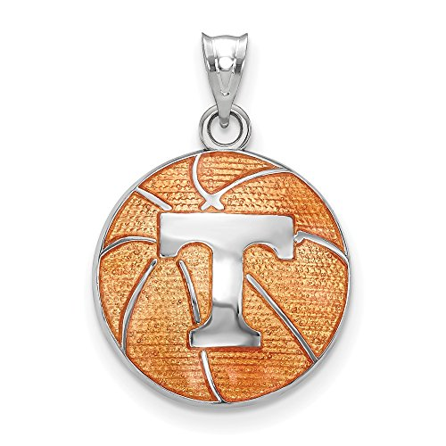 Sterling Silver Univ. of Tennessee Enameled Basketball Pendant