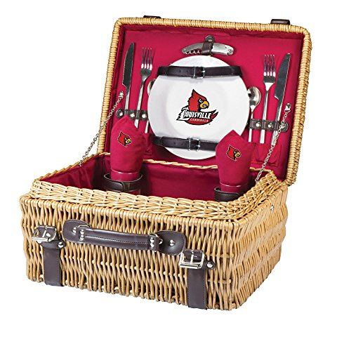 NCAA Louisville Cardinals Champion Picnic Basket with Deluxe Service for Two, Red (Cardinal Basket)