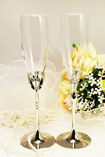 Silver Bride&groom Pair Wedding Glasses Toasting Flute Set Personalized Engraved ()