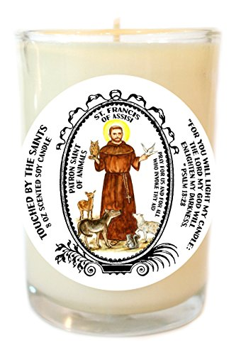 Saint Francis Patron of Animals 8 Oz Scented Soy Glass Prayer Candle by Touched By The Saints