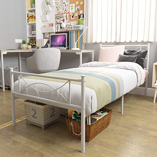 Teraves Metal Bed Frame Platform Bed Box Spring Replacement with Headboard and Footboard/Mattress Foundation for Kids Adult (Twin, White)