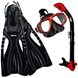 PROMATE Snorkeling Scuba Dive Mask Fins DRY Snorkel Gear Set
