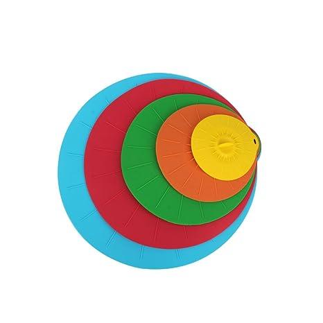 Tapas de Silicona Reutilizables colorido juego de 5 tapa cubre se ...