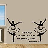 Ballet Wall Decals Girl Dance Music Quotes Ballerina Gym Decor Vinyl Sticker Home Decor Vinyl Art Wall Decor Girl Bedroom Nursery Decor