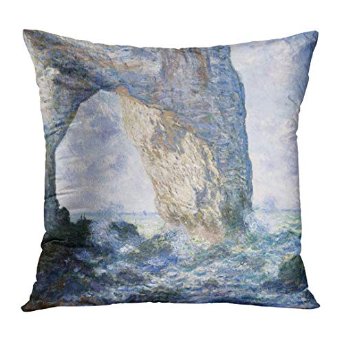 - Emvency Personalized Pillowcase The Manneporte by Claude Monet 1883 French Impressionist Painting Oil on Canvas Solid Rock Sea and Sky Home Decorative Square Size 18 x 18 Inches Cushion Pillowcover
