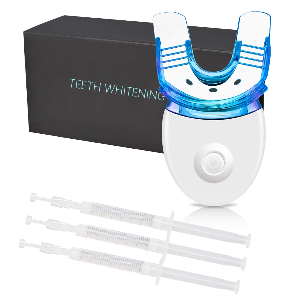 Goodking Teeth Whitening Kit with LED Light, 3 Non-Sensitive Teeth Whitening Gel, Deluxe Dental Grade Teeth Whitener with Carbamide Peroxide, Safe Use for Home, Travel