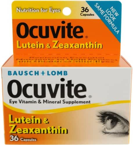 Bausch + Lomb Ocuvite Lutein Capsules, 36 Count Bottle (Pack of 2)