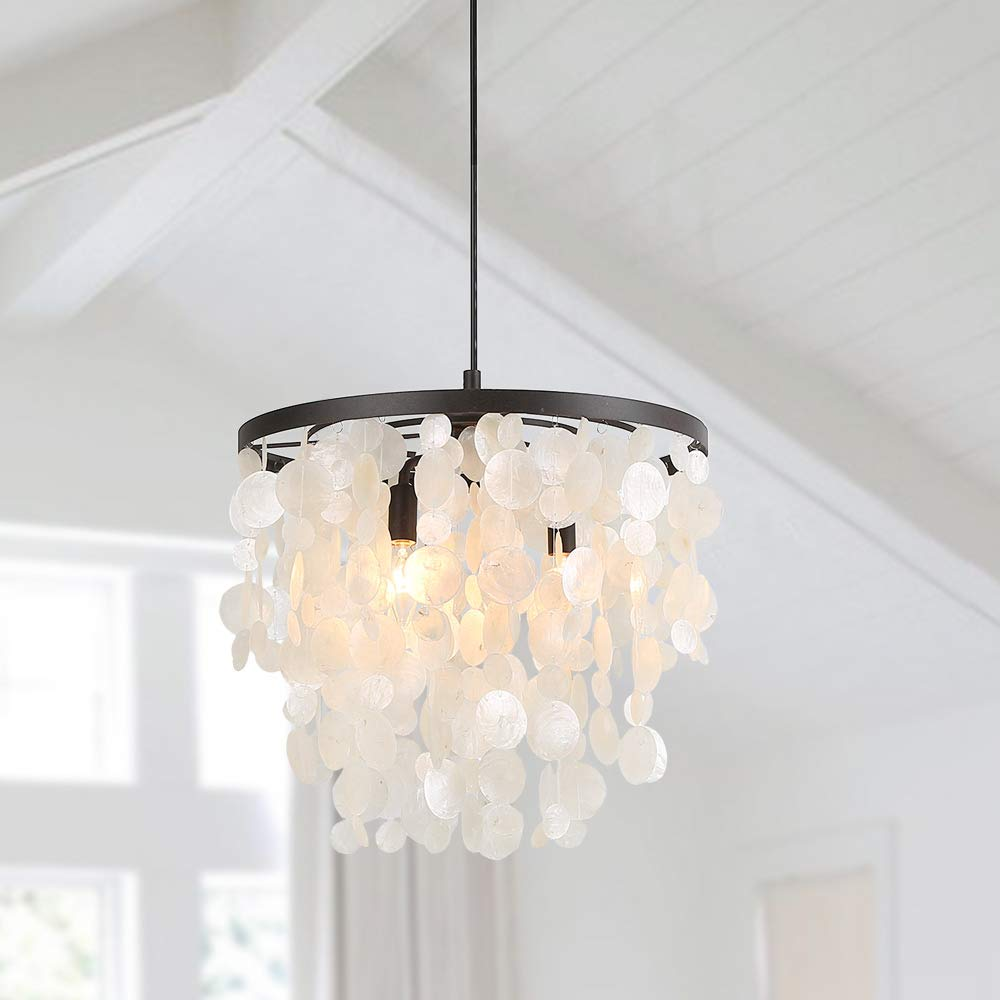 Log barn 3 lights coastal pendant light in rusty metal round frame with natural white capiz shell drops 16 9 small chandelier for dining room