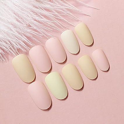 yunail 24pcs Candy Color Rosa Amarillo Nude curvado corto completo uñas postizas Tips
