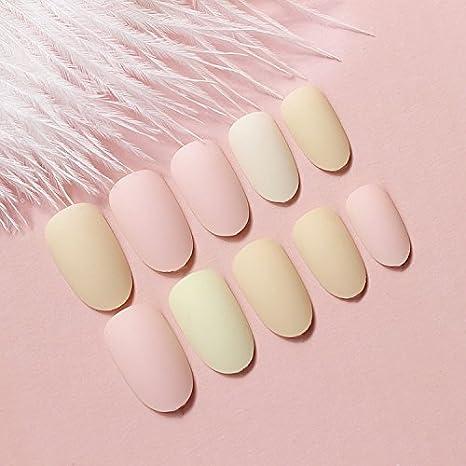 yunail 24pcs Candy Color Rosa Amarillo Nude curvado corto completo uñas postizas Tips: Amazon.es: Belleza