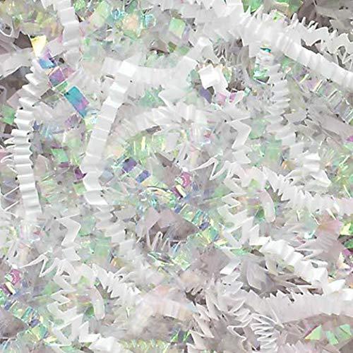 1 LB Premium White Metallic & Iridescent Fancy Blended Shred Gift Basket Shred Crinkle Paper Filler Bedding by COTU (16 oz)