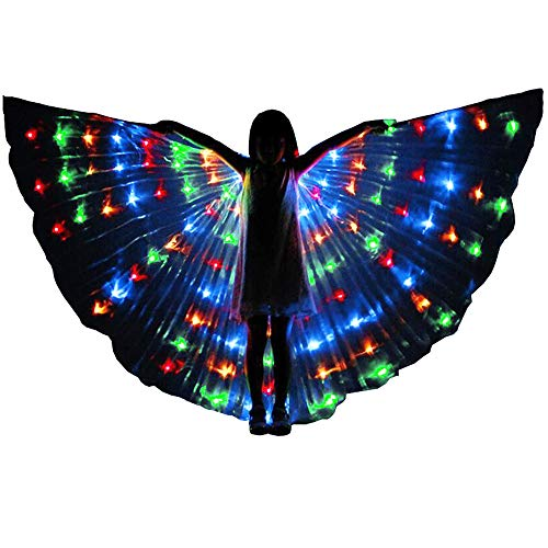 Belly Dance LED Angel Isis Wings Kids with Flexible Sticks Halloween Party (Multicolored) ()