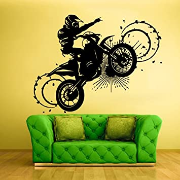 Wall Vinyl Sticker Decals Decor Art Bedroom Design Mural Tribal Dirt Bike Moto Motorcycle Z323