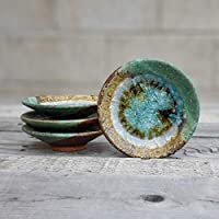 GEODE RING DISH: Individual Geode Ring Dish in GREEN & COPPER Fused Glass Dish, Trinket Dish, Soap Dish, Crackle Glass, Candle Holder, Dock 6 Pottery, Kerry Brooks Pottery