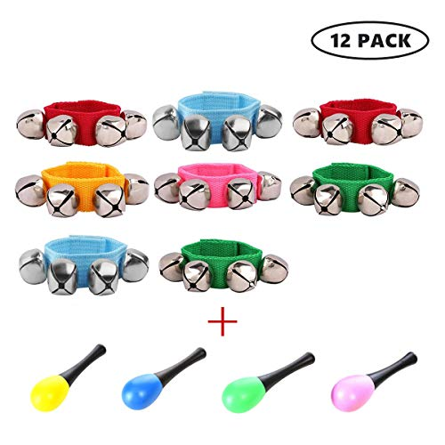 - FST 12 Pack Wrist Bell Sand Hammers Set,8 PCS Jingle Bells with 4 PCS Maracas Rattle Shakers Musical Educational Toys for Kids Adults