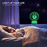 TriPro Basketball Shape 3D Optical Illusion Smart 7 Colors LED Night Light Table Lamp with USB Power Cable, for NBA Fans Gift