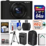 Sony Cyber-Shot DSC-WX500 Wi-Fi Digital Camera (Black) with 64GB Card + Case + Battery & Charger + Tripod + Kit