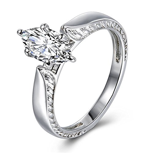 Haluoo Womens Exquisite Rings Fashion Platinum Plated Silver Ring Oval Solitaire Cubic Zirconia CZ Engagement Wedding Ring for Women (9, Silver)