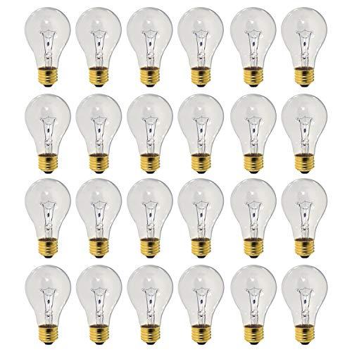 60 Watt A19 Medium Base 130 Volt Rough Service 3000 Hour Incandescent - Standard Household E26 Bulb (Clear, 24 Pack)