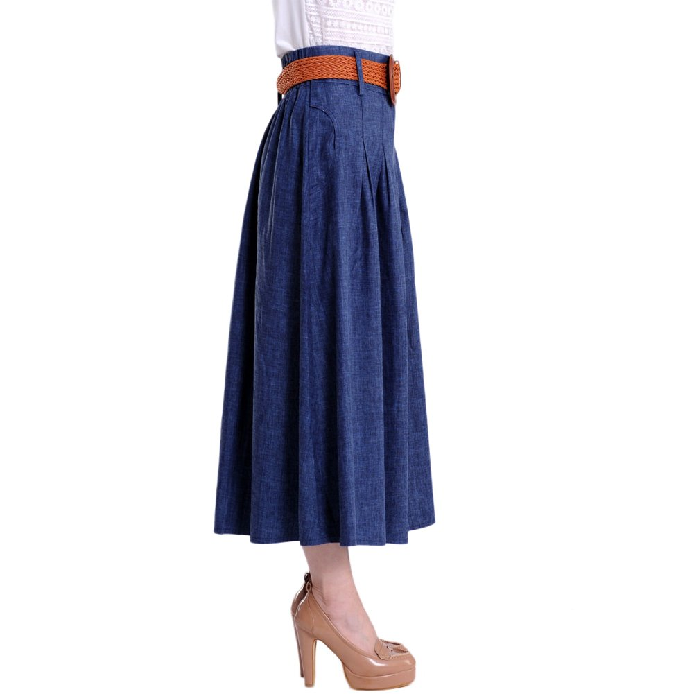 Maxi Mingxin Casual Full Long Womens A-line Flared Pleated Denim Skirt Blue
