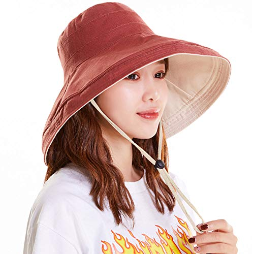 - Maylisacc Cotton Reversible Bucket Hats for Women Wide Brim Sun Hat Foldable OrangeRed