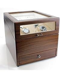 Grand Quad Watch Winder with Drawer in Walnut