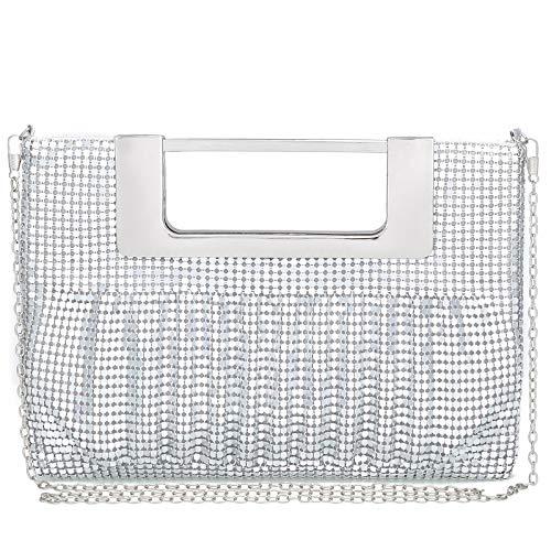 Silver clutch purses for women evening bags and clutches for women evening bag purses and handbags evening clutch purs(Silver) Buckle Clutch Evening Bag