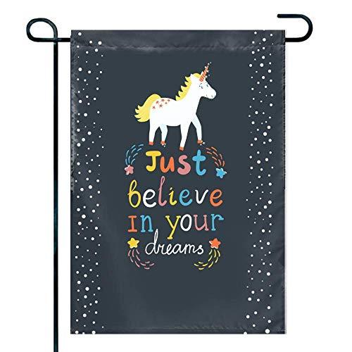 Love fled Unicorn Font Image Family Friends Primitive Garden Flag ()