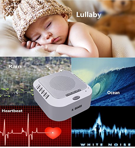 White Noise Machine, Sleep Sound Machine, Sound Therapy Machine with Bedside Light and Natural Sound, 3 Timers, Memory Card Playing Music for Baby, Kids, Adults (rechargable built-in lithium battery)