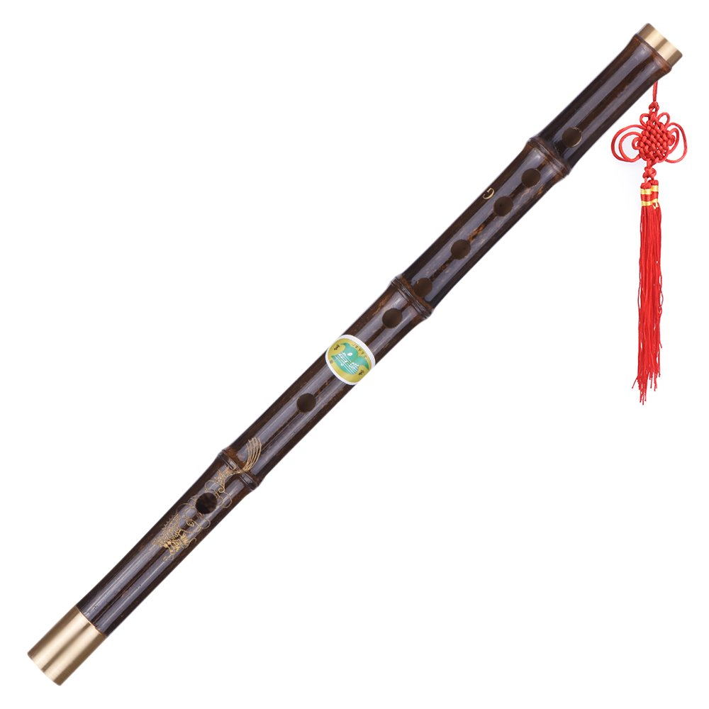 Andoer Professional Black Bamboo Dizi Flute Traditional Handmade Chinese Musical Woodwind Instrument Key of G Study Level