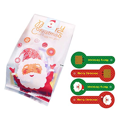- Christmas Treat Bags 50pcs Cellophane Bag for Candy Biscuit Gift Wrap Cellophane Bag with Sealing Stickers