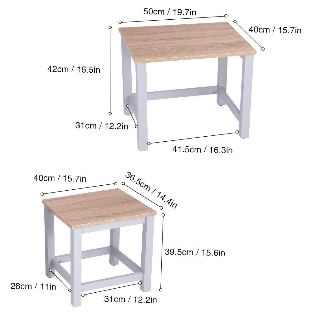 Balcone Happy Home Set di 2 tavolini Quadrati da Salotto Camera da Letto