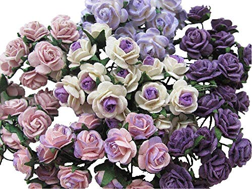 (100 pcs Mini Rose Mixed Purple Color Mulberry Paper Flower 10mm Scrapbooking Wedding Dollhouse Supplies Card by Thai Decorated)