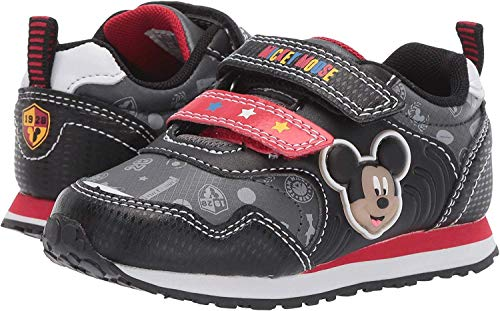 Mickey Mouse Shoes Toddler (Josmo Kids Disney Mickey Mouse Boys Sneakers Black/Red Toddler/Little Kid, Size)