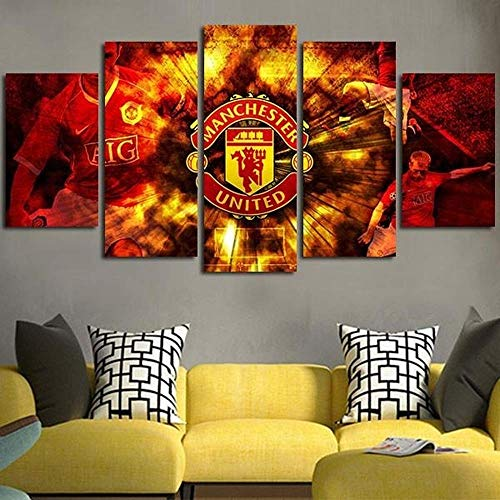 ZZXINK Manchester United Football Soccer Team 5p Oil Painting HD Print On Canvas Modern Decoration Wall Art