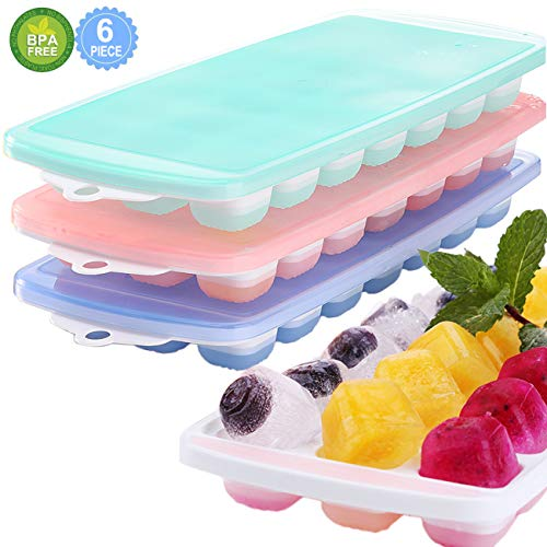 Ice Cube Trays, 3 Packs Food Grade Flexible Silicone Ice Cube Molds Tray with Lids, Easy Release Ice Trays Make 63 Ice Cube, Stackable Durable and Dishwasher