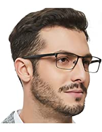 Mens Rectangle Eeywear Full-Rim Metal Non-Prescription...