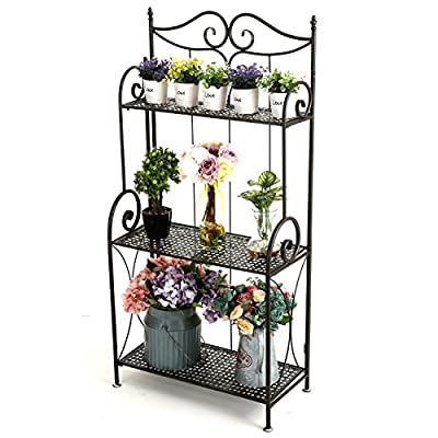 3 Tier Scrollwork Design Metal Foldable Plant Stand, Storage Display Shelf Rack
