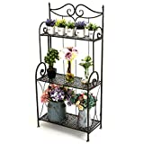 Scrollwork Design Metal Foldable 3-Tier Plant & Home Décor Display Stand Rack / Book Shelf