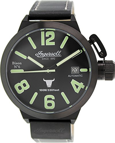 Ingersoll Men's IN8900BBK Bison Automatic Black Leather Strap Watch