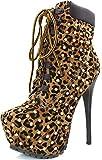 Breckelle's BLAZER-12 Women's Stylish Studded lace up Platform Ankle Booties,Blazer-12v1.0 Leopard 7