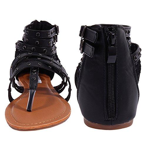 SheSole Womens Flat Shoes Flip Flops Gladiator Sandals Size 3-9 Black OE6BZyY