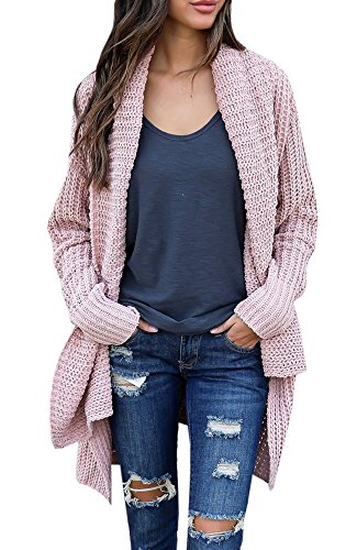 Knitted Outerwear - FISACE Women's Loose Fit Long Sleeve Knitted Cardigan Sweaters Outerwear with Pocket, Medium,  Pink